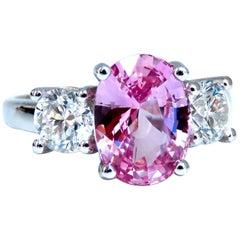 GIA Certified 3.66 Carat Natural Pink Sapphire Diamonds Ring 14 Karat Classic 3