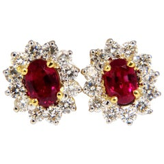 GIA Certified 3.68 Carat Natural Ruby Diamond Earrings 18 Karat