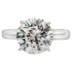 GIA Certified 3.68 Carat Round Diamond Solitaire Engagement Ring