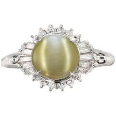 GIA Certified 3.69 Carat Chrysoberyl Cats Eye Diamond Halo Platinum Ring