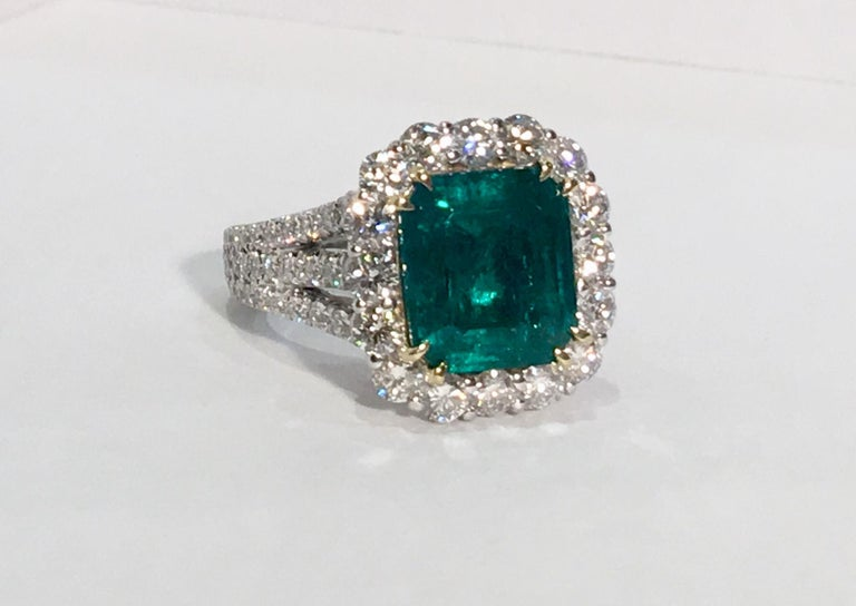Emerald Cut Finest Quality GIA Certified 3.69 Carat Colombian Emerald 2.7 Carat Diamond Ring For Sale