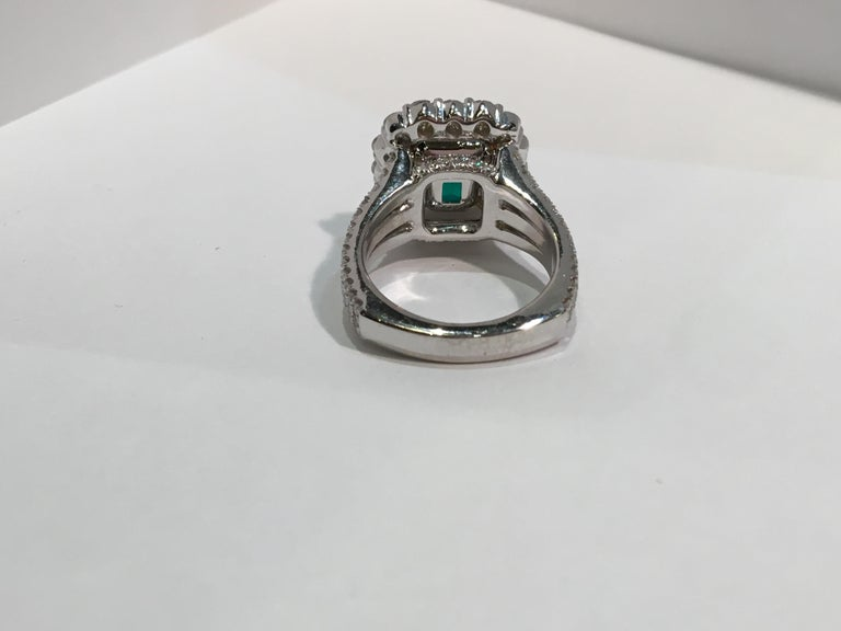 Finest Quality GIA Certified 3.69 Carat Colombian Emerald 2.7 Carat Diamond Ring For Sale 3