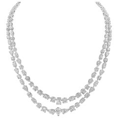 GIA Certified 36.92 Carat Diamond Two-Row Necklace