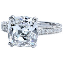 GIA Certified 3.70 Carat G/VS2 Cushion Diamond with Pave Platinum Solitaire