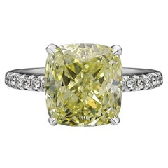 GIA Certified 3.71 Carat Fancy Yellow Cushion Diamond Solitaire Pave Ring
