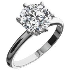 GIA Certified 3.28 Carat Round Brilliant Cut Diamond Platinum Ring