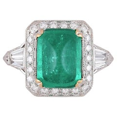 GIA Certified 3.71 Carat Sugarloaf Cabochon Colombian Emerald and Diamond Ring
