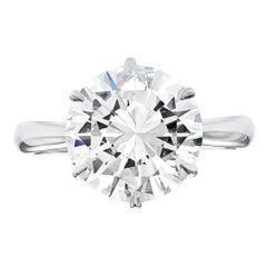 GIA Certified 3.72 Carat Round Brilliant Cut Diamond Ring