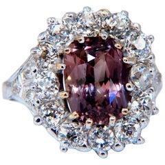 GIA Certified 3.73 Carat Purplish Brown Sapphire Diamonds Ring Platinum Vintage