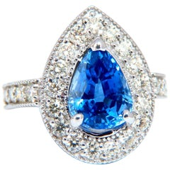 GIA Certified 3.73 Carat Natural Pear Sapphire Halo Cluster Ring 14 Karat