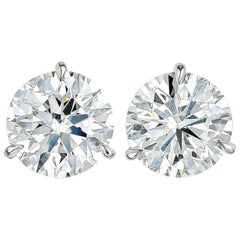 INTERNALLY FLAWLESS/VVS D Color GIA Certified 3 Carat Brilliant Diamond Studs