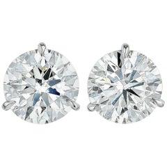 INTERNALLY FLAWLESS D COLOR 2 Carat Diamond Studs Triple Excellent Cut