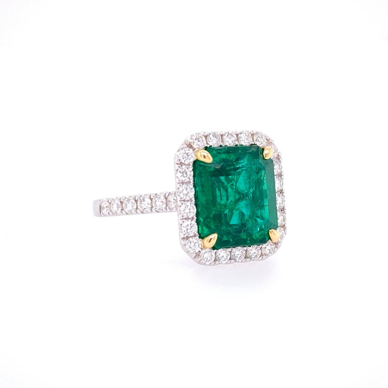 Emerald Cut GIA Certified 3.80 Carat Emerald and Diamond Ring For Sale
