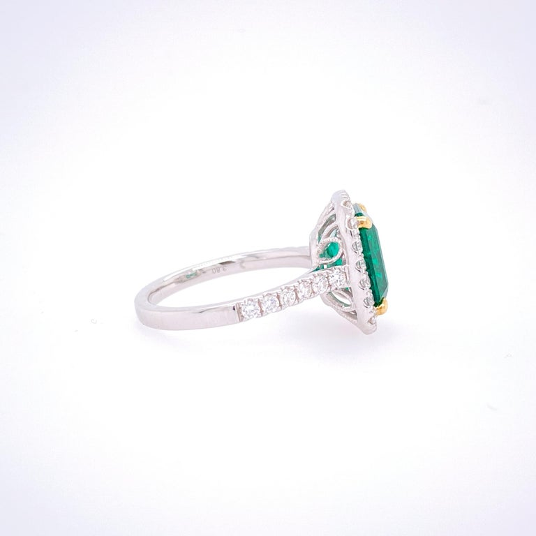 GIA Certified 3.80 Carat Emerald and Diamond Ring In New Condition For Sale In Great Neck, NY