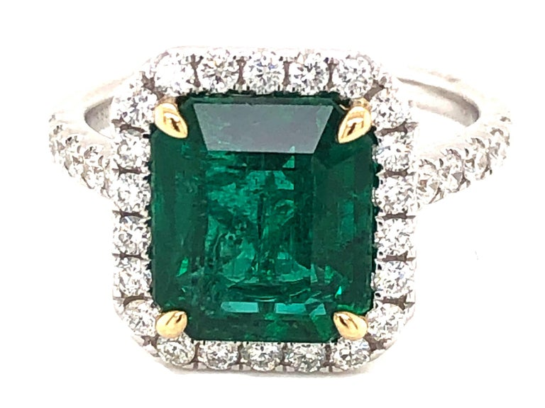 GIA Certified 3.80 Carat Emerald and Diamond Ring For Sale 2