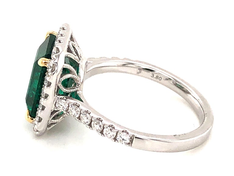 GIA Certified 3.80 Carat Emerald and Diamond Ring For Sale 3