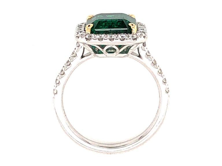 GIA Certified 3.80 Carat Emerald and Diamond Ring For Sale 4