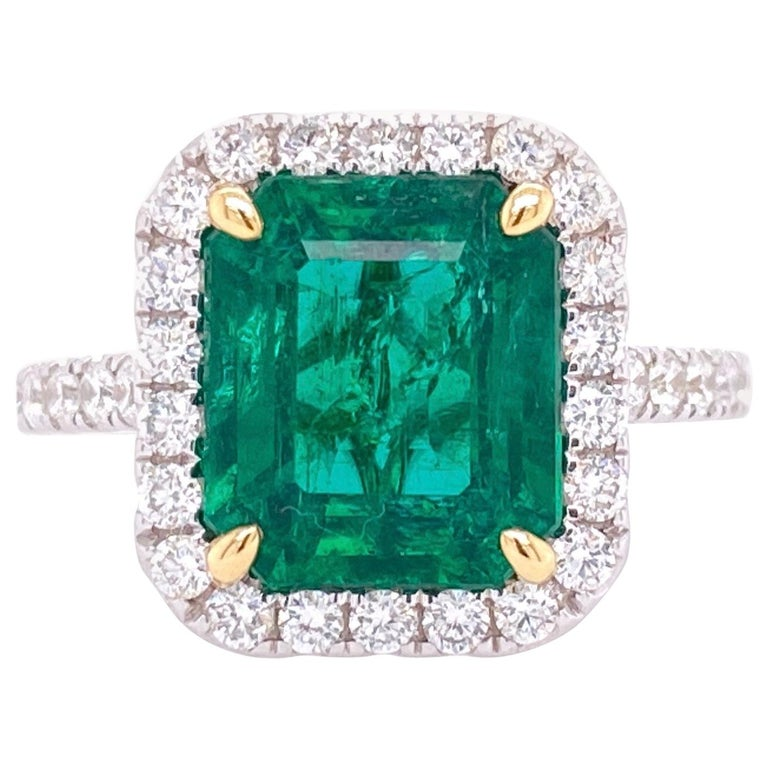 GIA Certified 3.80 Carat Emerald and Diamond Ring For Sale
