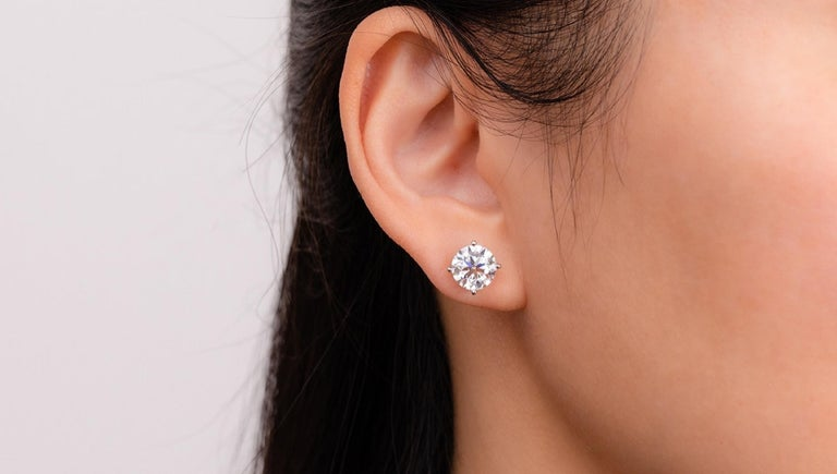 GIA Certified 3.00 Carat Round Brilliant Cut Diamond Studs F Color INTERNALLY FLAWLESS Clarity