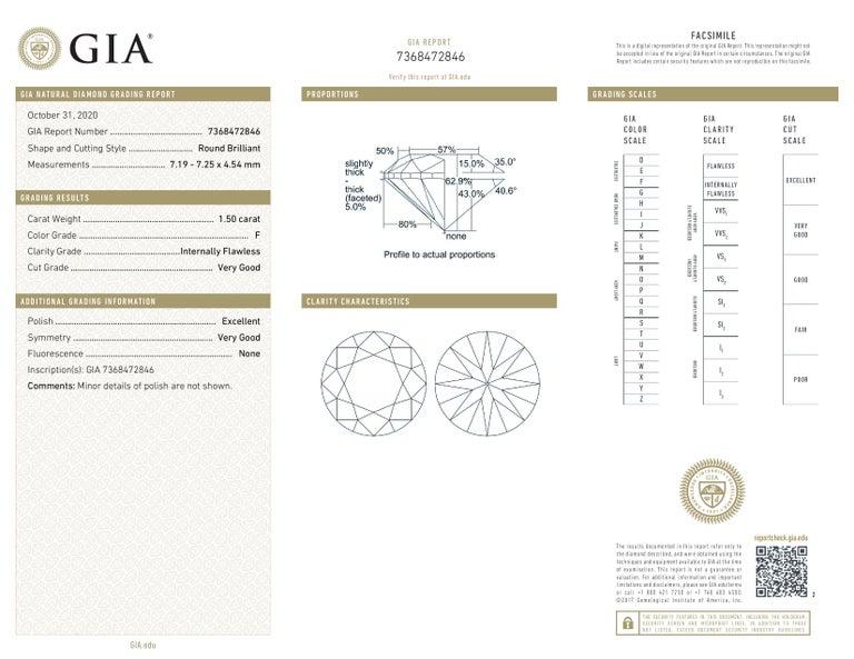 Modern GIA Certified 3.00 Carat Round Brilliant Cut Diamond INTERNALLY FLAWLESS/VVS1 For Sale