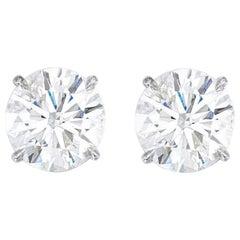 GIA Certified 3.48 Carat Round Brilliant Cut Diamond Studs Internally Flawless
