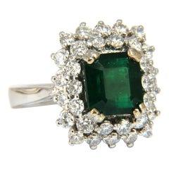 GIA Certified 3.82 Carat Natural Emerald Diamonds Ring 14 Karat No Enhancement