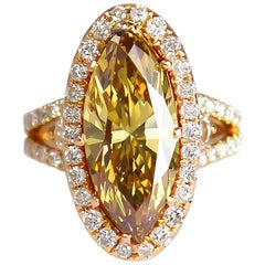 GIA Certified 3.82 Carat Natural Fancy Deep Brownish Orangy Yellow Handmade Ring