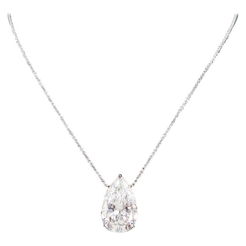 GIA Certified 3.82 Carat Pear Shape Diamond Pendant Necklace