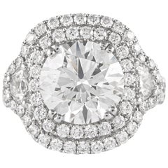 GIA Certified J VS2 3X 3.82 Carat Round Diamond Halo Ring 18 Karat White Gold