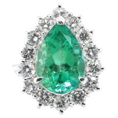 GIA Certified 3.84 Carat Natural Colombian Emerald & Diamond Ring Set Platinum