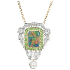 GIA Certified 3.85 Carat Opal Diamond Garnet Platinum Gold Pendant Necklace