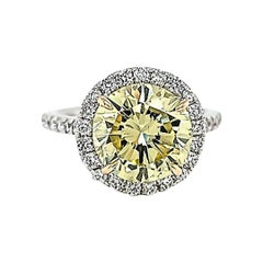 GIA Certified 3.87 Carats Fancy Yellow Diamond Ring