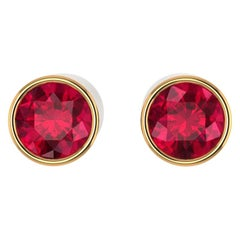 GIA Certified 3.88 Carat Ruby Earring Studs Bezel 18 Karat Yellow Gold