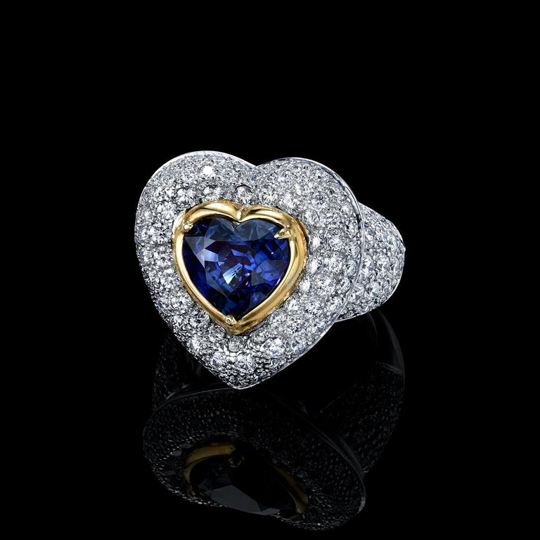DIAMOND & HEART SHAPED RING 6.72TCW PLATINUM/18KYG  ONE OF A KIND!  Heart Shaped Natural Unheated Blue Sapphire and Diamond Ring  Center Stone Heart Shape Blue Sapphire weighs 3.90 carats   With GIA Certificate # 2171810954  Origin: MADAGASCAR