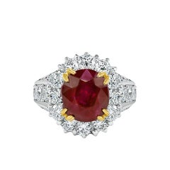 GIA Certified 3.95 Carat Natural Burmese Ruby Platinum Cocktail Ring