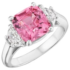 GIA Certified 3.95 Carat Natural Pink Sapphire Ring in Platinum