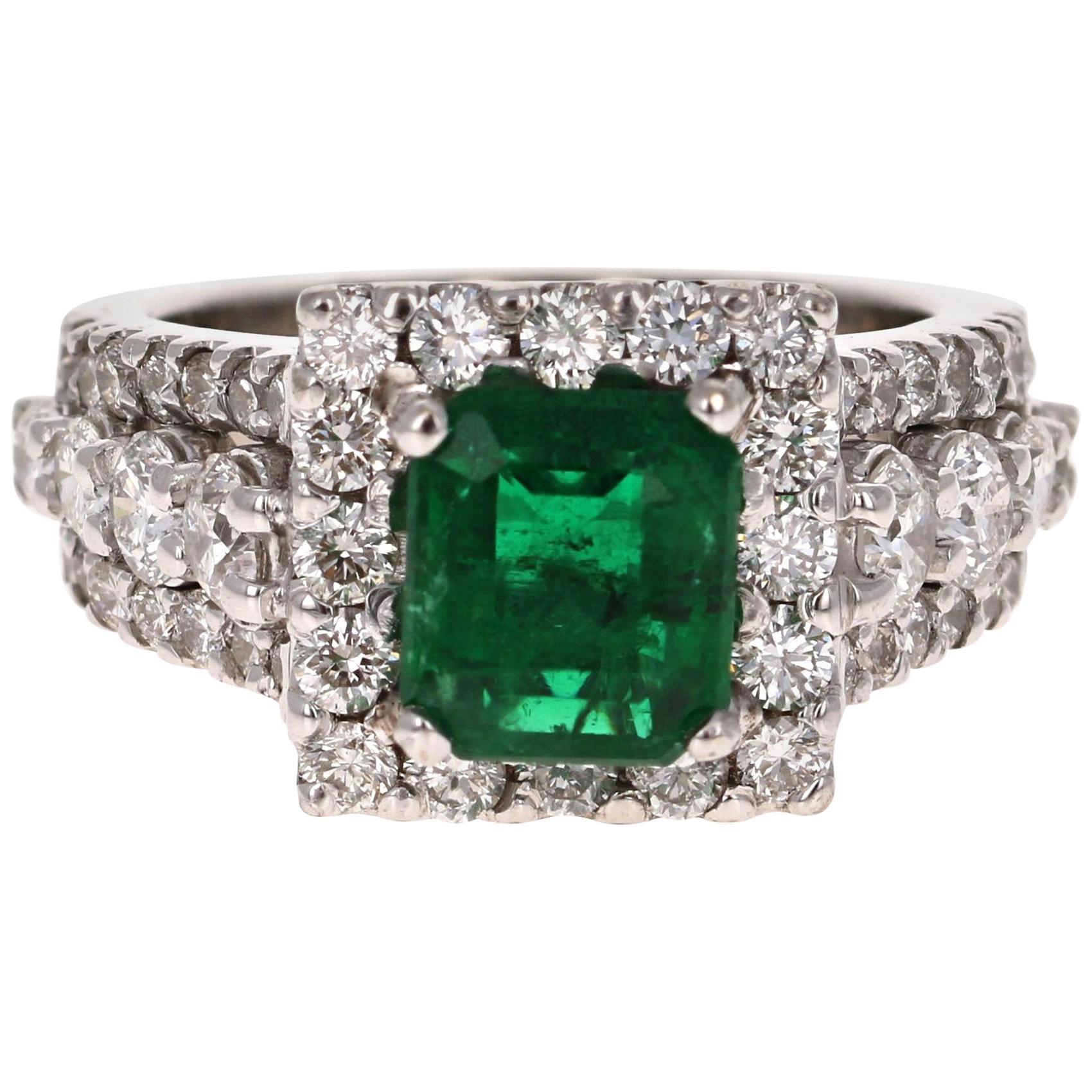 GIA Certified 3.96 Carat Emerald Diamond 18 Karat White Gold Ring