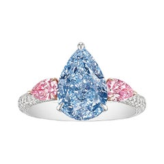 GIA Certified 3.97 Carat Fancy Intense Blue and Pink Diamond Ring in 18K Gold