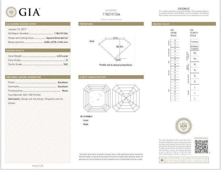 GIA Certified 4 Carat Asscher Cut Diamond Stud Earring in Platinum For Sale 1