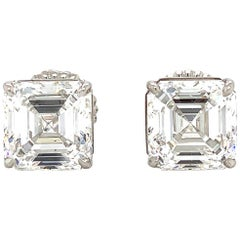 GIA Certified 4 Carat Asscher Cut Diamond Stud Earring in Platinum