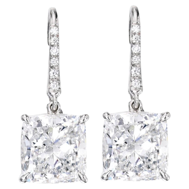 GIA Certified 5 Carat Cushion Modified Brilliant Cut Diamond Earrings G VS2