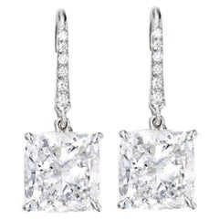 GIA Certified 4.02 Carat Cushion Modified Brilliant Cut Diamond Earrings G/F VS1