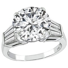 GIA Certified 4 Carat Diamond Platinum Engagement Ring