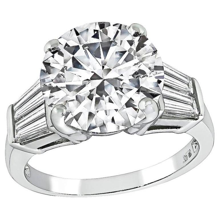 GIA Certified 4 Carat Diamond Platinum Engagement Ring For Sale