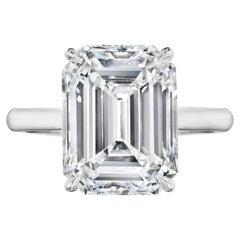 GIA Certified 4 Carat Emerald Cut Diamond Engagement Ring