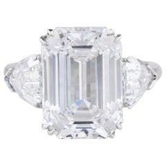 GIA Certified 4 Carat Emerald Cut Diamond Engagement Soliatire Ring