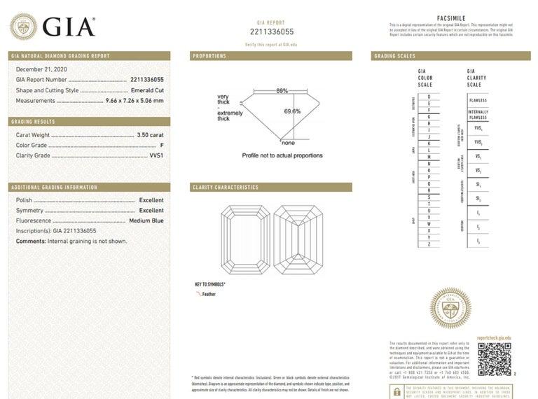 Women's  GIA Certified 4 Carat Emerald Cut Diamond F Color VVS1 Clarity For Sale
