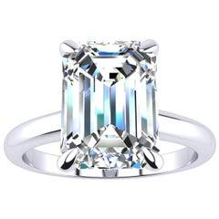GIA Certified 4 Carat Emerald Cut Diamond Platinum Ring