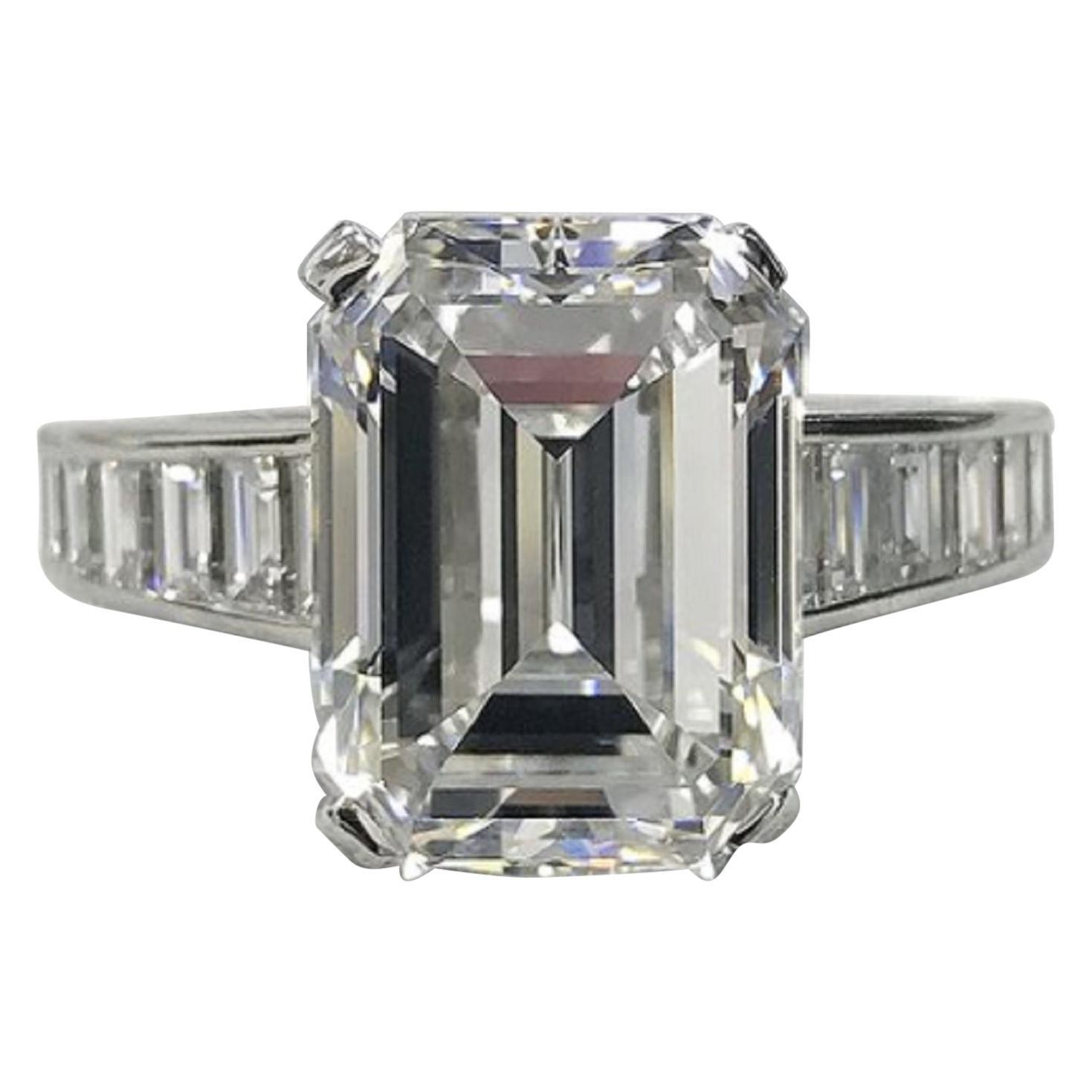 GIA Certified 4 Carat Emerald Cut Diamond Ring