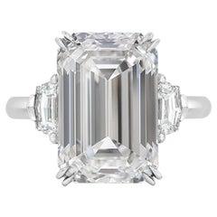 GIA Certified 4 Carat Emerald Cut F VS1 Diamond Engagement Gold Ring